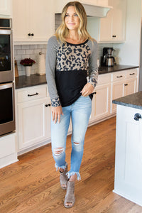 Striped Leopard Splicing Black Long Sleeve Top
