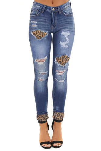 Hollow Out Leopard Patchwork Distressed Jeans