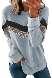 Leopard Print Crew Neck Color Block Sweatshirt