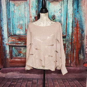 Pink Scalloped Batwing Oversized Sweater