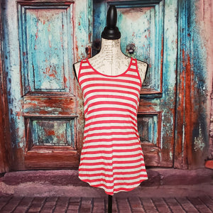 Coral Striped Racer Back Tank Top