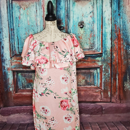 Pink Off Shoulder Floral Ruffle Mini Dress