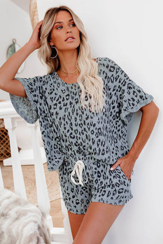 Leopard Print Rolled Sleeve Short Pajamas Set
