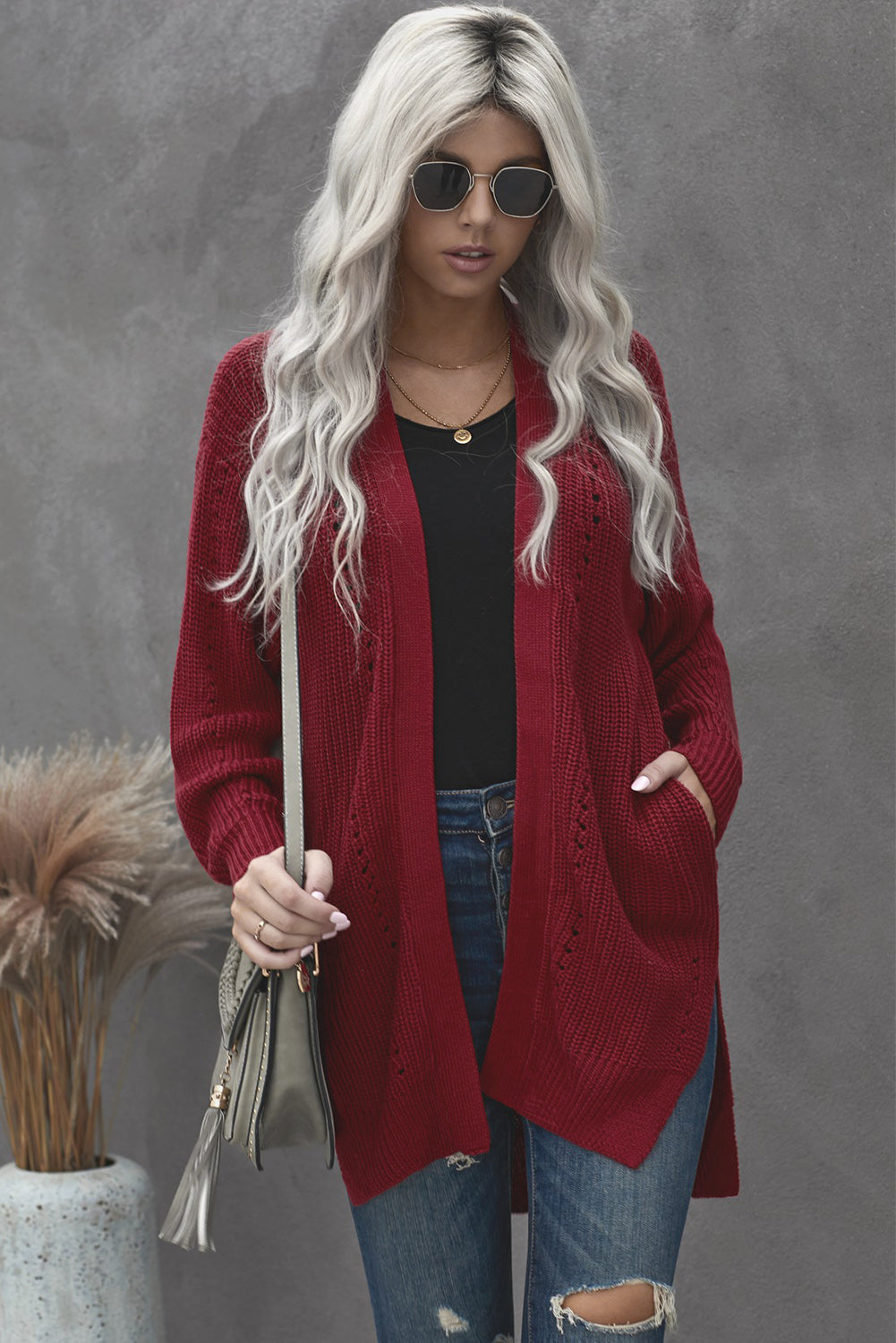 Wine Drop Sleeve Cable Knit Cardigan with Slits