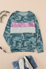 Load image into Gallery viewer, Camo Sequins Color Block Long Sleeve Top