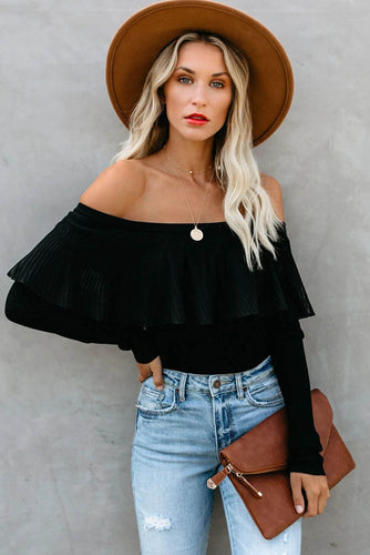 Ribbed Off The Shoulder Lace Top