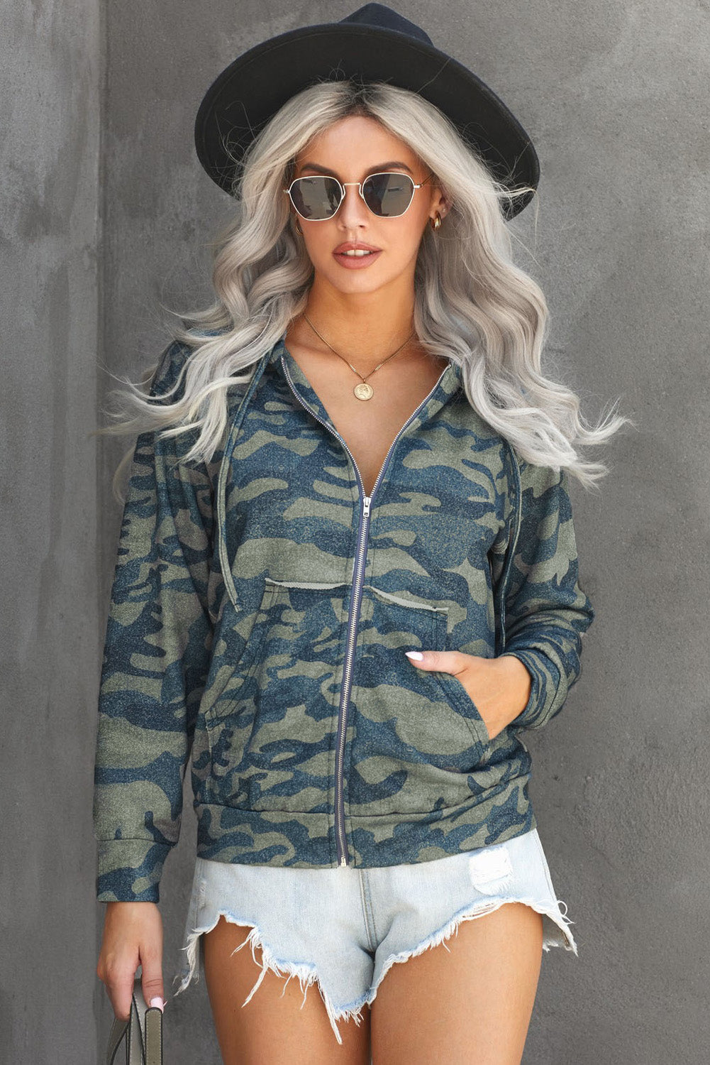 Olive Camo Print Zip Up Hooded Jacket