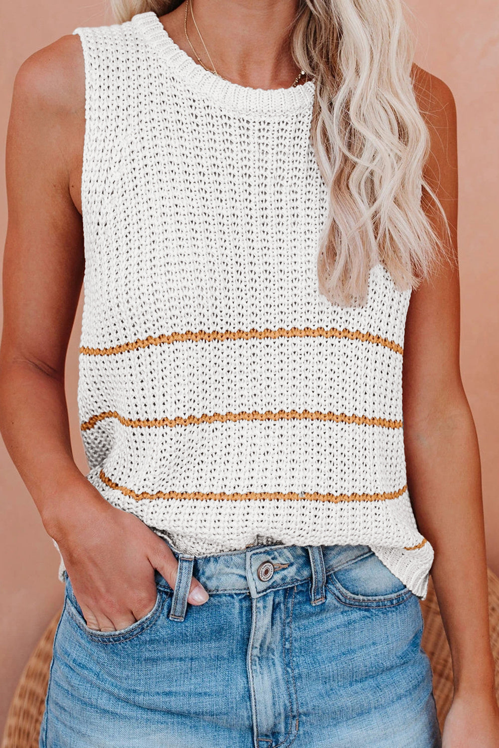 Knit Tank Top with Stripes