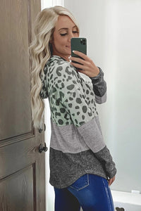 Leopard Print Ribbed Texture Color Block Hoodie