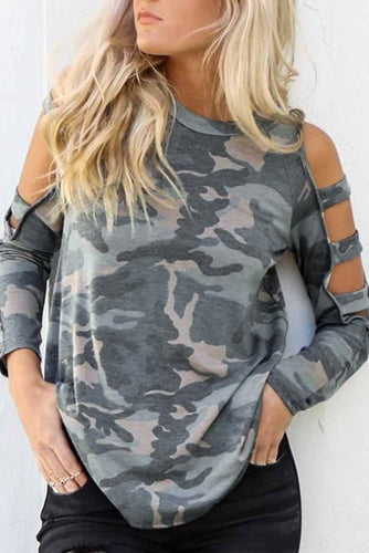 Camouflage Shoulder To Hollow Out Long Sleeve Top