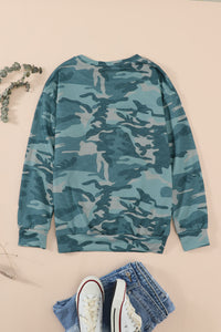Camo Sequins Color Block Long Sleeve Top