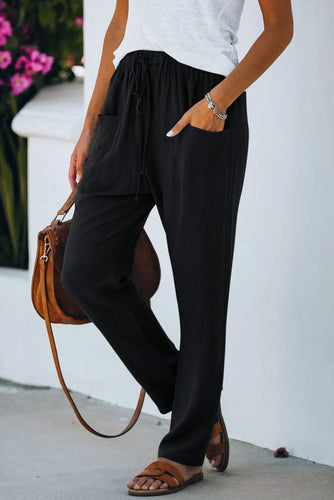 Casual Drawstring Elastic Waist Pants with Pockets