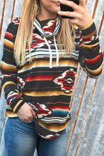 Load image into Gallery viewer, Striped Geometric Cowl Neck Sweatshirt
