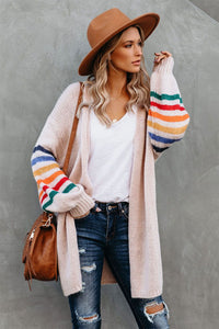 Striped Balloon Sleeve Cardigan