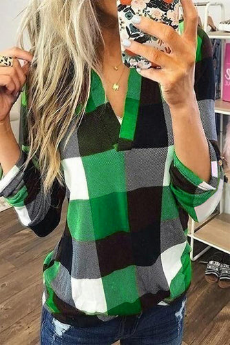 Contrast Plaid V Neck Long Sleeve Top
