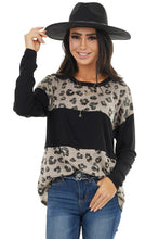 Load image into Gallery viewer, Latter Colorblock Leopard Print Long Sleeve Top