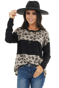 Latter Colorblock Leopard Print Long Sleeve Top