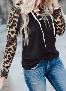 Lace Up Neck Leopard Long Sleeves Top