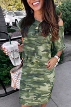 Load image into Gallery viewer, One Shoulder Short Sleeve Camo Mini Dress