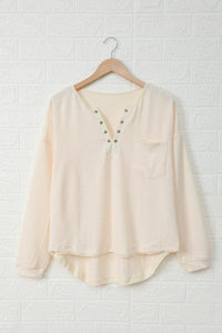 Cotton Knit Grommet Top