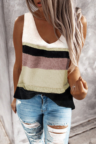 Khaki Color Block Knitted Sweater Vest
