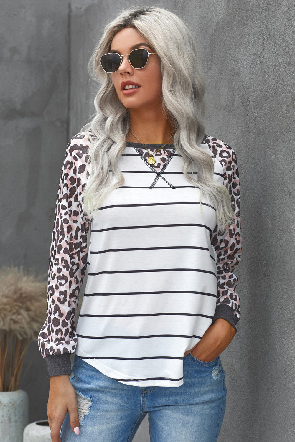 Striped Leopard Raglan Top