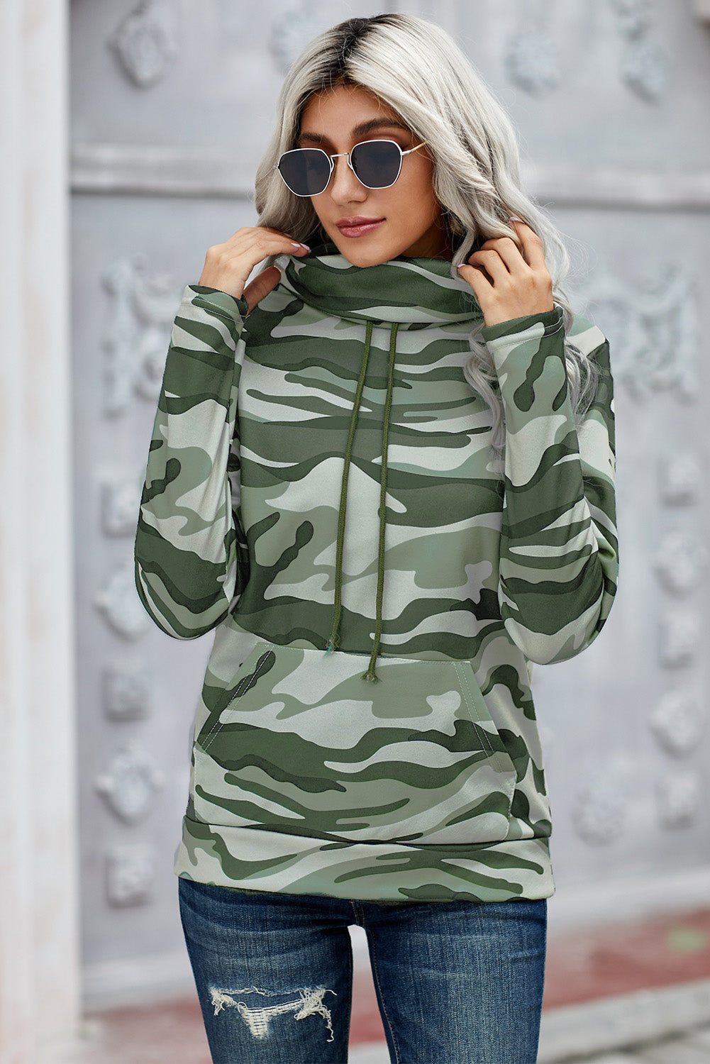 Army Green Camo Cowl Neck Sweatshirt