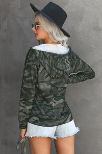 Camo Print Zip Up Hooded Jacket