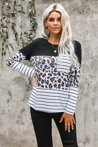 Striped Patchwork Long Sleeve Top with Pocket