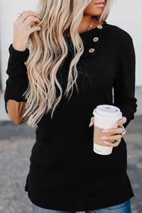 Buttoned Neck Knit Long Sleeves Top