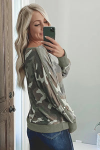 Camouflage Print Buttoned Long Sleeve Sweatshirt