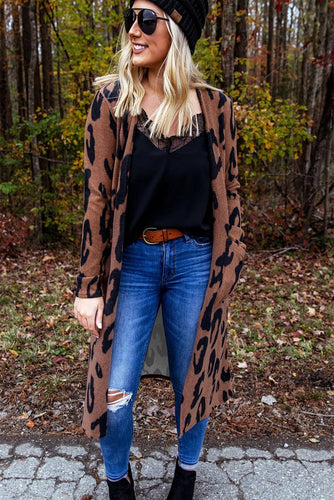 Leopard Print Open Front Cardigan with Pockets