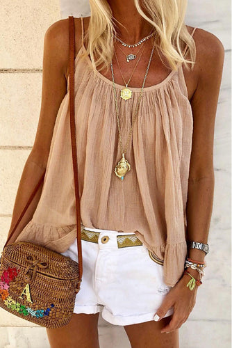 Spaghetti Straps Pleated Ruffled Tank Top