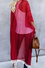 Load image into Gallery viewer, Striped Tassel Kimono
