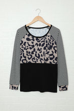 Load image into Gallery viewer, Striped Leopard Splicing Black Long Sleeve Top