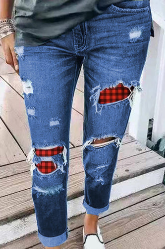 Plaid Patchwork Hollow Out Ripped Jeans