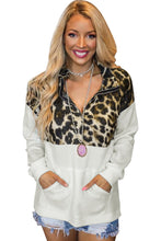 Load image into Gallery viewer, Zipper Stand Neck Dropped Sleeve Leopard Splice Sweatshirt