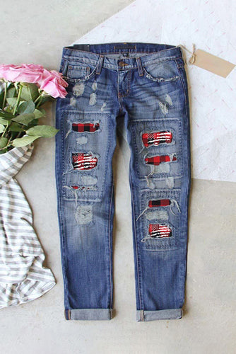 Vintage Flag Plaid Print Patches Mid-waist Jeans