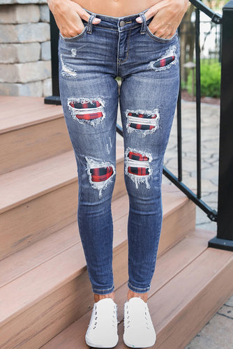 Medium Wash Distressed Plaid Skinny Jeans