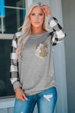 Load image into Gallery viewer, Plaid Splicing Sequined Pocket Long Sleeve Top