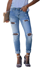 Load image into Gallery viewer, Print Patchwork Frayed Skinny Jeans