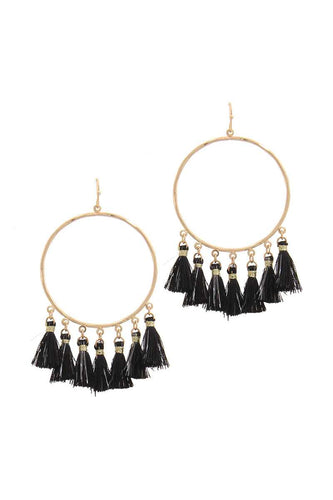 Two Tone Tassel Circle Drop Earring