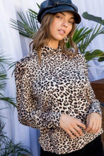 Load image into Gallery viewer, Mock Neck Long Bubble Sleeve Back Button Leopard Print Knit Top