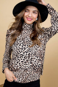 Mock Neck Long Bubble Sleeve Back Button Leopard Print Knit Top