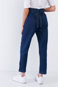 Jean Blue White Stitch Retro High Waist Frill Mock Wrap Denim Pants