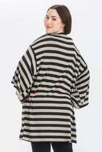 Load image into Gallery viewer, Striped, Cardigan With Kimono Style Sleeves