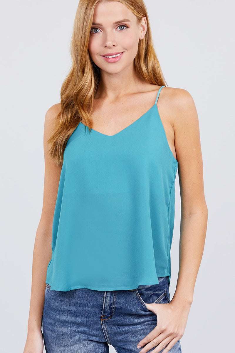 Double V-neck Cami Woven Top
