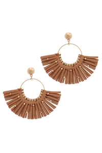 Metal Bead Suede Tassel Drop Earring