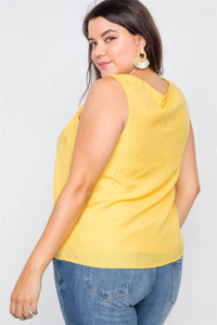 Canary Yellow V-neck Gathered Shoulder Casual Top