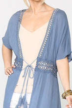 Load image into Gallery viewer, Lace Trim Open Front Tassel Waist Tie Duster Cardigan